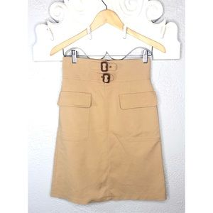 Zara Woman tan skirt with buckles S